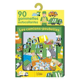 Boîte de 90 gommettes - thème les camions poubelles (photo)