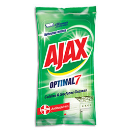 Lingettes Ajax Optimal7 - antibactérien - pour cuisine et surfaces grasses - nettoyage intense - paquet de 50 (photo)