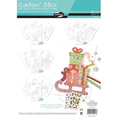 Custom stick à colorier et décorer avec gommettes - thème Noël - A4 - sachet de 20 feuilles (photo)