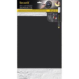 Ardoise murale Securit Silhouette - en forme rectangle - double-face - accessoires - L29,8 x H34,7 cm - noire (photo)