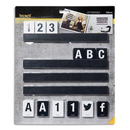 support 4 tag res securit l25 cm 169 lettres nombres en bois noir achat pas cher. Black Bedroom Furniture Sets. Home Design Ideas