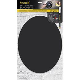Ardoise ovale murale Securit Silhouette - L29,8 x H37,7 cm - en forme ovale - double face - accessoires - noir (photo)