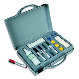 Kit mallette conférence Vanerum contenant : 4 feutres, 8 aimants, 1 effaceur et 1 Spray nettoyant (photo)