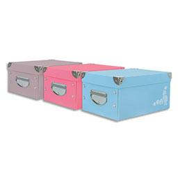 Boîte de rangement Elba Pastel - à plat - polypropylène - A4 - coloris assortis 3 couleurs (photo)