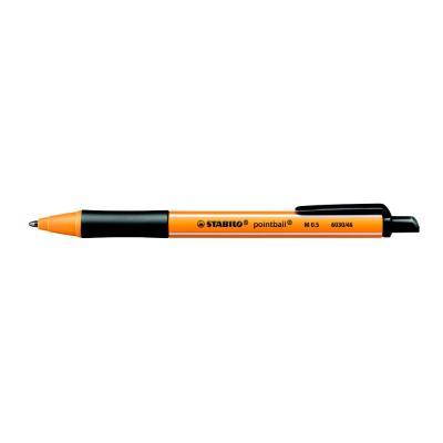 Stylo bille rétractable Pointball 6030/46 Stabilo - avec zone de préhension - pointe moyenne - corps en plastique jaune/noir - encre noire