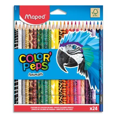 Crayons de couleur décorés Animals Colorpep's Maped - coloris assortis - pochette de 24 (photo)