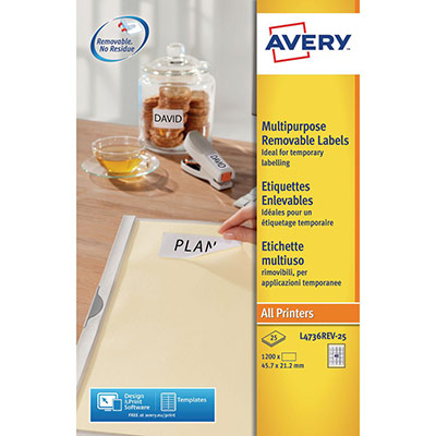 Étiquettes Avery - 1200 Étiquettes - 45,7 x 21,2 mm - paquet 1200 unités (photo)
