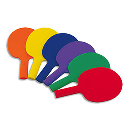 Lot de 6 raquettes ping pong en plastique - couleurs assorties (photo)
