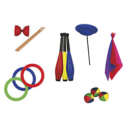 Kit jonglerie : 3 balles à grains, 3 anneaux, 3 foulards, 3 massues, 1 assiette, 1 diabolo (photo)