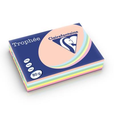 Papier couleur Trophée - coloris assortis pastel rose - canari - vert - bleu - saumon - 80g - A4  - ramette 5 x 100 feuilles