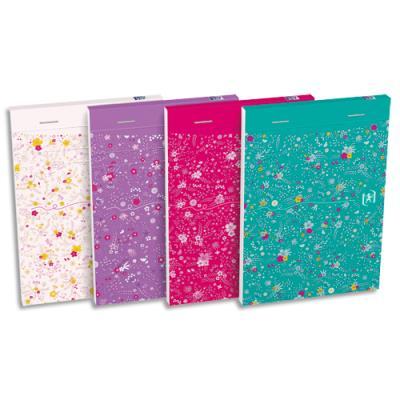 Bloc Oxford Floral - agrafé en tête - 10,5 x 14,8 cm - ligné 6 mm - 160 pages - coloris assortis