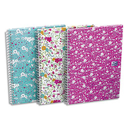 Cahier spirales Oxford Floral - A5 - 120 pages - 5x5 - coloris assortis