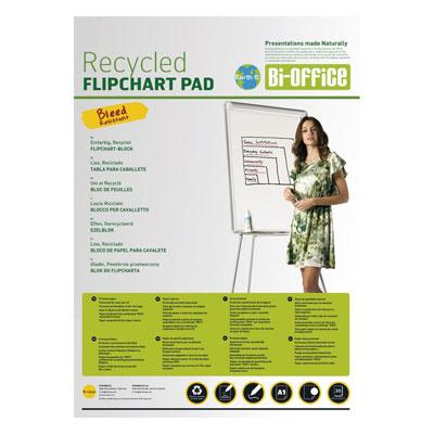 Recharge papier recyclable Bi-Office pour chevalets  - 50 feuilles uni - lot de 5 - L65 x H98 cm