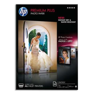 Papier photo Premium Plus HP CR672A - A4 21 x 29,7 cm - 300 g - finition brillante - boîte de 20 feuilles (photo)
