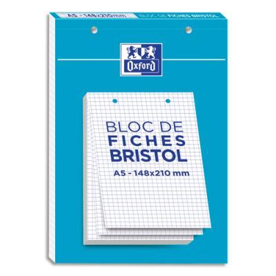 Feuilles Bristol Oxford - perforée - 14,8 x 21 cm - 5x5 - blanc - bloc de 30 (photo)
