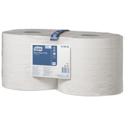 Lot de 2 bobines d'essuyage Tork Basic Paper blanches - 1000 formats - 2 plis