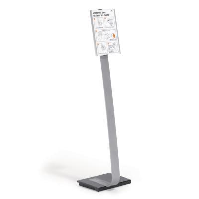 Support d'information sur pied Info Sign stand Durable - pivote à 90° - format A3 - H1,25m maxi - argent métallisé