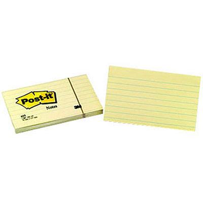 Notes Post-it lignées - 76 x 127 mm - jaune - bloc de 100 feuilles