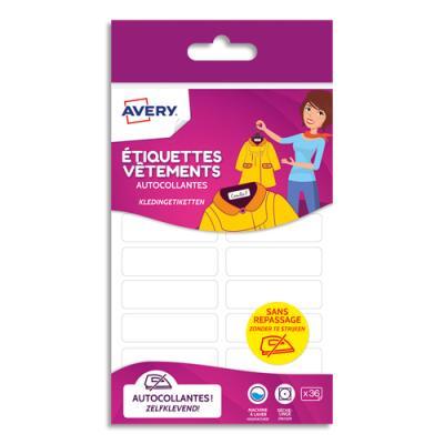 Etiquettes vêtements Avery - autocollantes - 13 x 45 mm - coloris blanc - blister de 36