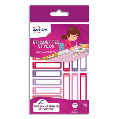 Etiquettes stylos Avery - autocollantes - 50 x 10 mm - feutre permanent uniquement - coloris rose/rouge - blister de 30