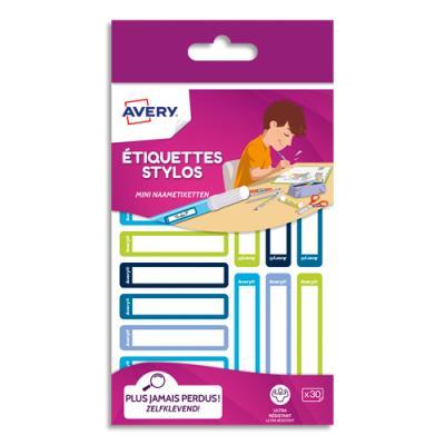 Etiquettes stylos Avery - autocollantes - 50 x 10 mm - feutre permanent uniquement - coloris bleu/vert - blister de 30