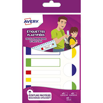 Etiquettes plastifiées Avery - formats assortis - blanc et bordure vert/bleu/jaune/rouge - sachet de 24