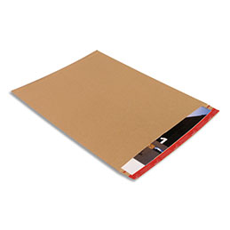 Pochette d'expédition rigide Colompac - carton - L48,5 x H65,5 cm - épaisseur remplissage 5 cm - brun (photo)