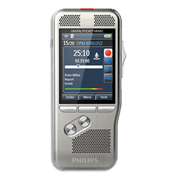 Pocket Mémo DPM8000 Philips - interrupteur 4 positions - carte SD - log Pro Dictate - station d'accueil - batterie (photo)