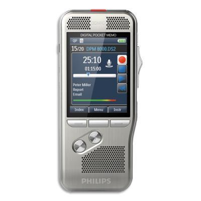 Pocket Mémo DPM8000 Philips - interrupteur 4 positions - carte SD - log Pro Dictate - station d'accueil - batterie