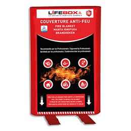Couverture anti feu Lifebox - L1,2 x H1,2 m - étouffe le départ de flammes - gris (photo)