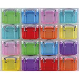 Organiseur 16 Boîtes Really Useful Box - 0,14 L - L28 x H22,4 x P8 cm - pour fournitures de bureau - assorties transparentes (photo)