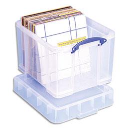 Bac plastique Really Useful Box - 35L - L48 x H31 x P31 cm - extra large - avec couvercle pour disques vinyles - transparent (photo)