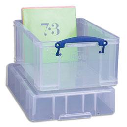 Bac plastique Really Useful Box - 9 L - L39,5 x H20,5 x P25,5 cm - extra large - avec couvercle pour disques vinyles - transparent (photo)