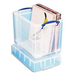 Bac plastique Really Useful Box - 19 L - L39,5 x H33 x P25,5 cm - extra large - avec couvercle pour disques vinyles - transparent (photo)