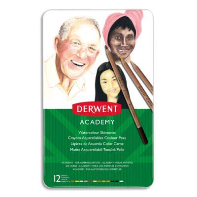 Crayons de couleur Derwent Academy - aquarellables - tons peaux assortis - boîte de 12 (photo)
