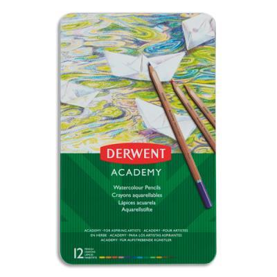 Crayons de couleur Derwent Academy - aquarellables - couleurs assorties - boîte de 12 (photo)