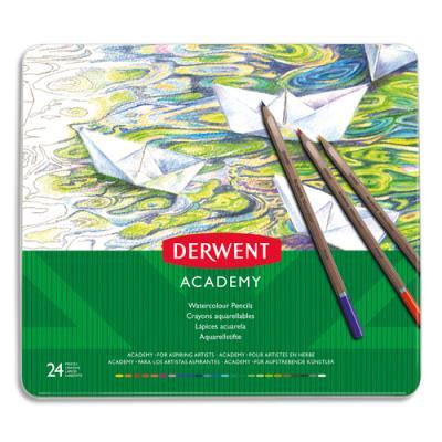 Crayons de couleur Derwent Academy - aquarellables - couleurs assorties - boîte de 24 (photo)
