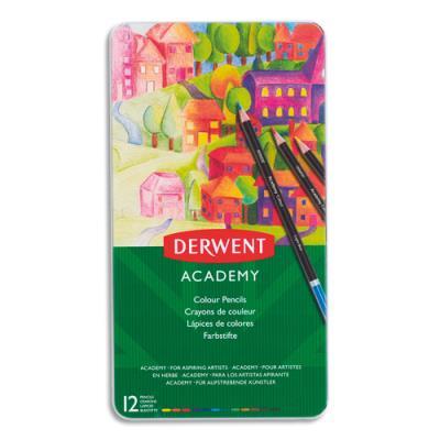 Crayons de couleur Derwent Academy - couleurs assorties - boîte de 12 (photo)