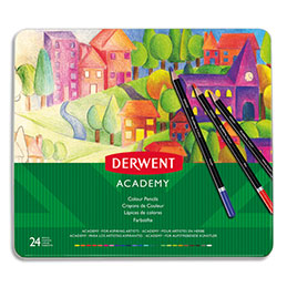 Crayons de couleur Derwent Academy - couleurs assorties - boîte de 24 (photo)