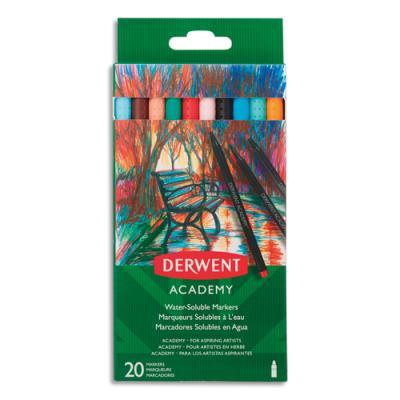 Feutres de coloriage Derwent Academy - pointe fine - coloris assortis - boîte de 20 (photo)