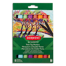 Marqueurs de coloriage Derwent Academy - double pointe fine et biseautée - coloris assortis - boîte de 8 (photo)