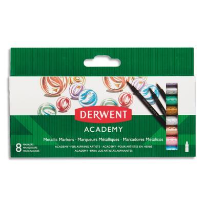 Marqueurs de coloriage Derwent Academy - coloris métal assortis - boîte de 8 (photo)