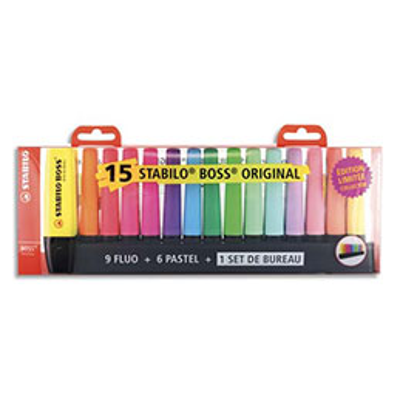 Surligneurs Stabilo Boss Original - pointe biseautée - coloris assortis - coffret de 15 + 1 deskset offert