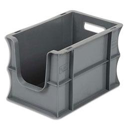 Bac à ouverture sur la largeur Viso - L30 x H20 x P18 cm - gerbable - gris