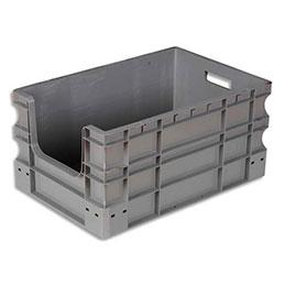 Bac à ouverture sur la largeur Viso - L60 x H28 x P26 cm - gerbable - gris