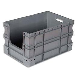Bac à ouverture sur la largeur Viso - L60 x H32 x P30 cm - gerbable - gris
