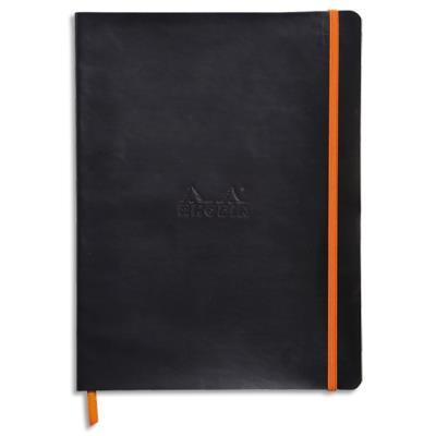 Carnet souple Rhodiarama - 15 x 25 - 160 pages - ligné - avec élastique - couverture simili-cuir noir