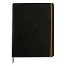 Carnet souple Rhodiarama - 22 x 29,7 - 160 pages - ligné - avec élastique - couverture simili-cuir noir
