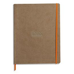 Carnet souple Rhodiarama - 15 x 29,7 - 160 pages - ligné - avec élastique - couverture simili-cuir taupe