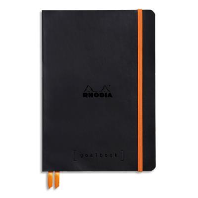 Carnet souple Rhodiarama - 14,8 x 21 - 240 pages - points Dot - avec élastique - couverture simili-cuir noir